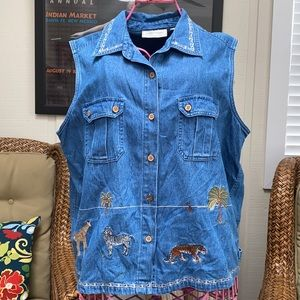 Animal embroidered Jean vest top Size XL
